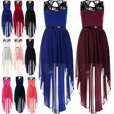 Womens Ladies Lace Chiffon High Low Dipped Hem Assymetric Belted Maxi Midi Dress • 3.05£