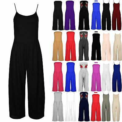 Women Jumpsuit Ladies All In One Casual Cami Strappy  Wide Leg Palazzo Playsuit • 7.49£