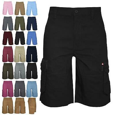 Airwalk Mens Cargo Shorts Summer Plain Single Pockets Zip Up Casual Combat Pants • 7.99£