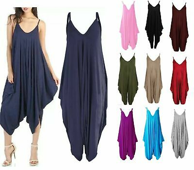 Women's Lagenlook Strappy Baggy Harem Jumpsuit Dress Top Playsuit 12-26 • 8.99£