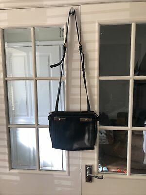 M&S Autograph Black Leather Crossbody Shoulder Handbag Bag • 10£