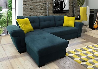 NEW Corner Sofa Bed With Storage.NAVY Soft Fabric, UNIVERSAL,TOP Quality  • 519£