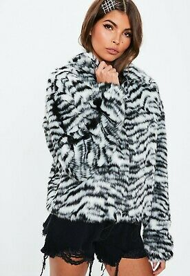 Missguided SOLD OUT Zebra Print Faux Fur Coat Jacket Size 6 BNWT  • 8.50£