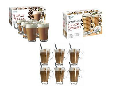 £10.95 • Buy 6 X 240ML LATTE GLASSES TEA COFFEE CAPPUCCINO GLASS CUPS HOT DRINK MUGS W SPOONS