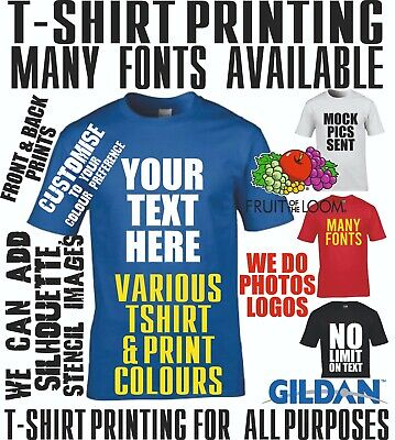 T Shirt Custom Printing Text Personalised Photo Stag Hen Fun T-Shirt Gym Casual • 8.75£