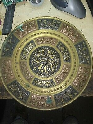 Antique Hand Embossed Brass With Silver And Copper Decorative Plate..NATRAJA • 231.44£