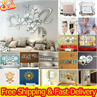 Acrylic 3D Mirror Effect Tile Wall Sticker Room Stick On Decal Indoor Decor Room • 5.89£