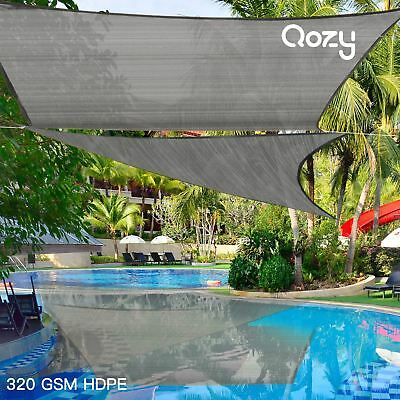 AU90 • Buy Qozy SUPER Extra Heavy Duty Sun Shade Sail 320gsm Square Rectangle Triangle Grey