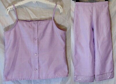 Girls M&S Lilac Sparkly Silver 2-Piece Top Trouser Suit Outfit Age 10-11 Years • 12.50£