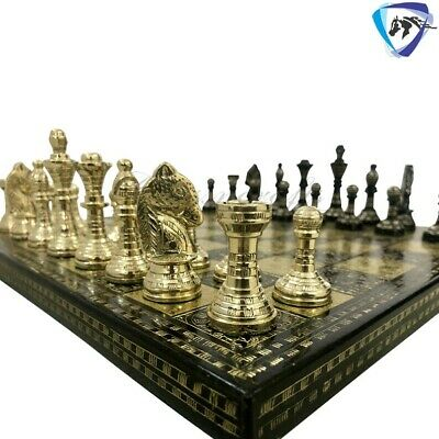 12  Brass Metal Chess Set - HAND CARVED Chess Board & Storage Box- Black & Gold • 145£
