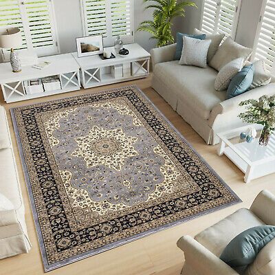 Modern Vintage Grey Rug New Living Room Bedroom Traditional Carpet Oriental Mat  • 40.99£