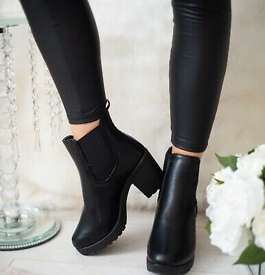 Womens Platform Ladies Ankle Chelsea Block Chunky High Heel Shoes Boots Size 3-8 • 13.95£