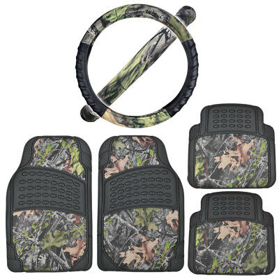 $36.08 • Buy Camouflage Car Floor Mats + Steering Wheel Cover Combo Set Military Jungle Green