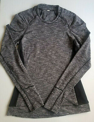 $ CDN47 • Buy Lululemon Think Fast Long Sleeve Coco Pique Pullover Black White Sz 6