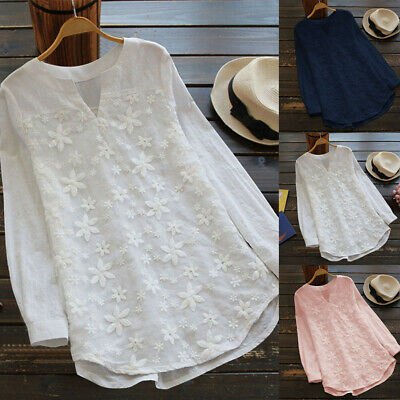 Women Floral Lace Baggy Tops Shirt Long Sleeve V Neck Casual Loose Tunic Blouse • 13.32£