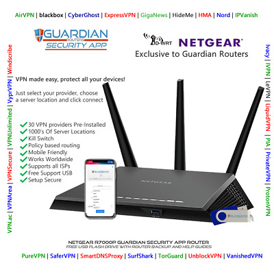 Netgear R7000P Guardian App VPN Router Surfshark Nord PIA Ivacy Purchase Options • 125£