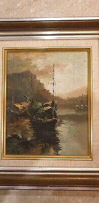 AU30 • Buy Vintage Yacht Acylic Art Framed Signed