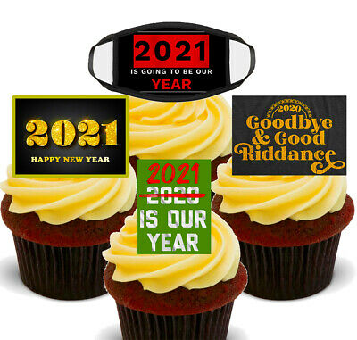 New Years Eve 2021 Cupcake Toppers, 12 Standup Wafer Fairy Cake Bun Decorations • 2.49£
