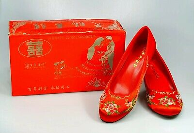 Traditional Embroidered Chinese Wedding  Shoes Size 36 UK 3 New With Box • 19.99£