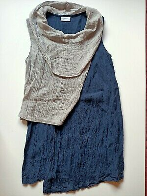 AU45 • Buy J Generation Linen Tunic Womens Size 10 Navy Grey Long Draped Neck