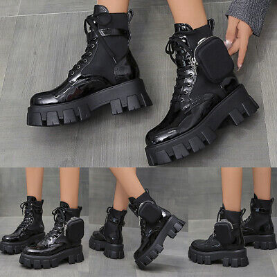 Women Chunky Platform High Heel Ankle Boots Lace Up Goth Punk Combat Shoes Size • 23.99£