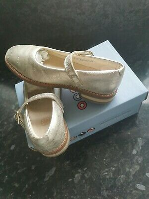Clarks Drew Sky Gold Metallic Girls Wedding Shoes. Size 8F. Worn Once. In Box. • 9.99£
