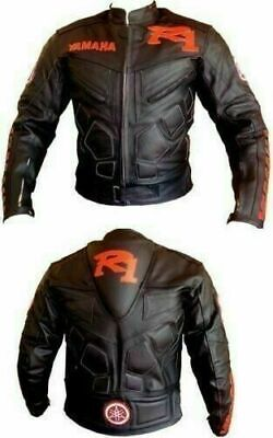 Yamaha R1 Black Motorbike Track Days Cowhide Leather Ce Protectors Jacket • 109.99£