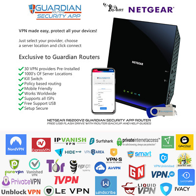 Netgear R6300v2 Guardian App VPN Router Surfshark PIA Nord Ivacy Purchase Option • 134£