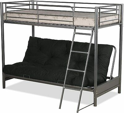 £329.99 • Buy FUTON BUNK BED (With 1 Double Futon Mattress) IN SILVER METAL FINISH **NEW STOCK