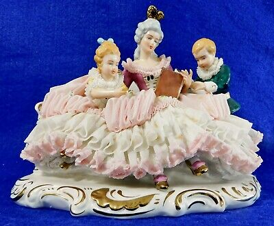 $ CDN263.98 • Buy Large Antique 8.5  Dresden Porcelain Lace Figurine Mother Reading To Children