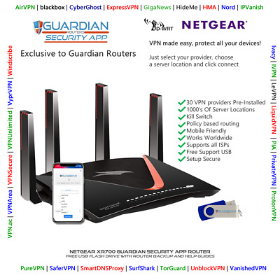 Netgear XR700 Guardian App VPN Router Surfshark Nord Ivacy PIA Purchase Options • 180£