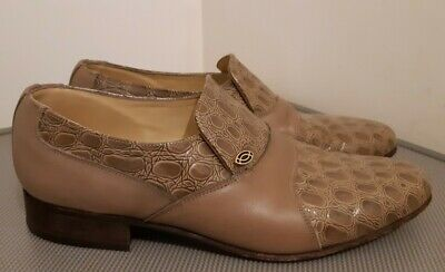 Mens Vintage Sanders  Andy Beige Leather Shoes Size 9 • 24.99£