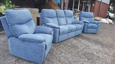 Gplan Three Piece Suite 3 Seter Sofa And 2 Armchairs Pair Blue Fabric Material • 975£