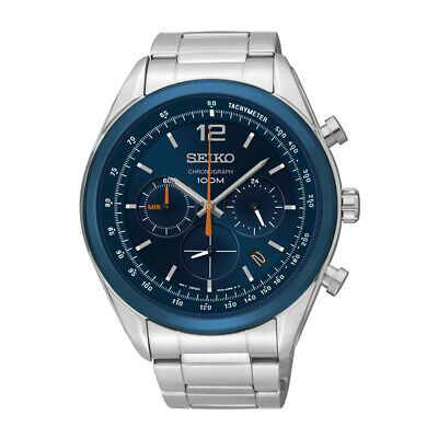 $ CDN208.18 • Buy Seiko Chronograph Blue Dial Stainless Steel Mens Watch SSB091