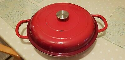 Cast Iron Shallow Casserole Dish 30 Cm. Red. Le Creuset Type. NEW • 45£