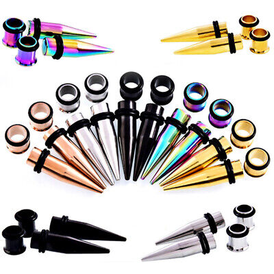4X Set Flesh Tunnel Double Flared Ear Plug Stretcher O-ring Taper Stretching Kit • 2.29£