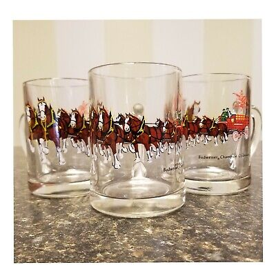 $ CDN52.12 • Buy Set Of 3 Vintage Budweiser Champion Clydesdale Horses Wagon Glass Beer Mug 4.75