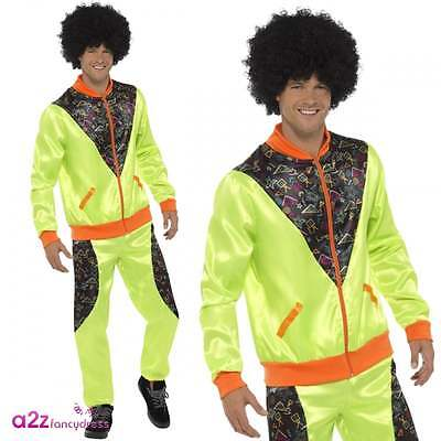 Mens Neon Green 80's Retro Shell Suit Trackie Adult Scouser Fancy Dress Costume • 17.95£