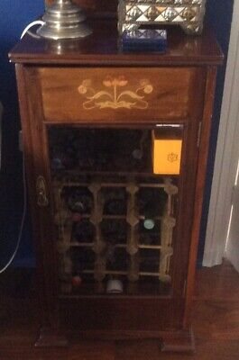 Mahogany Inlaid Music Cabinet With Bevelled Glass Door • 30£