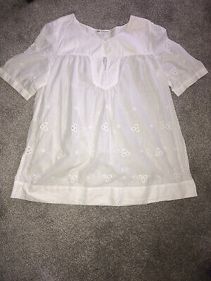 Marks And Spencer Autograph Size 12 White Broderie Anglaise Short Sleeved Top • 4.50£