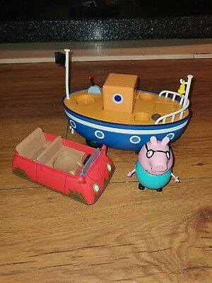 Peppa Pig Grandpa Pirate Boat Ship ,daddy Pigs Car And Daddy Pig Figure Bundle • 7.49£
