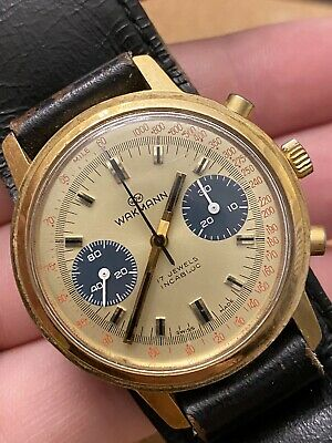 $ CDN399.08 • Buy Rare Vintage Wakmann Chronograph Valjoux 236 Large 37mm