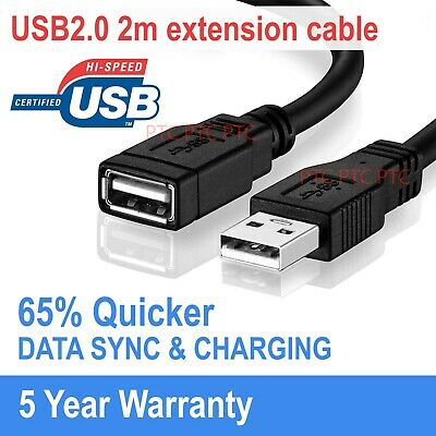 AU5.30 • Buy  USB 2.0 Male To Female Data Sync Cable Extension Cord Lead For Laptop PC Camera