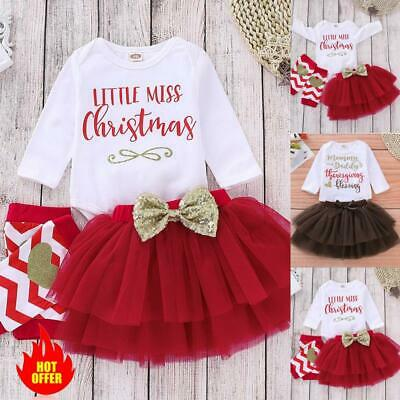 UK Newborn Baby Girls Christmas Dress Skirt Romper Tops Leggings Clothes Outfits • 9.49£