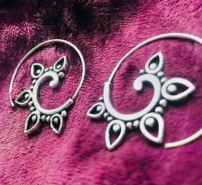 £7.99 • Buy SILVER PLATED SMALL SPIRAL EARRINGS -3cm- BOHO, ETHNIC, FESTIVAL, LADIES GIFT 💝