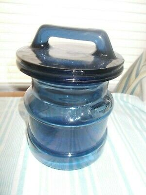 $20 • Buy Blue Glass Milk Jug Canister/Cookie Jar Small