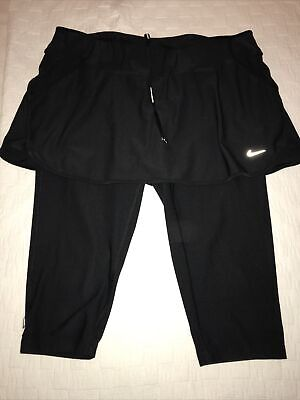 Nike Black Cropped Dri Fit Exercise Leggings With Buit In Skirt, Pockets L.  • 10£