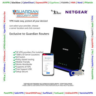 Netgear R6250 Guardian App VPN Router Surfshark PIA Nord Ivacy Purchase Options • 120£