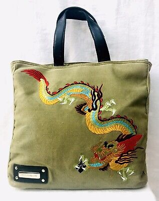 PATRICK COX Quirky Army Green Distressed Canvas Tote Bag Dragon Embroidery • 16.99£