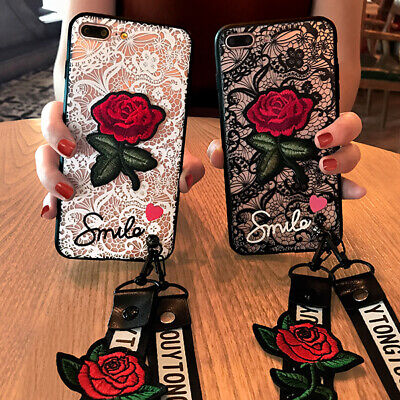 AU7.96 • Buy Lace Rose Flower Fashion Women Girl Lanyard Soft Phone Case Cover For OPPO VIVO